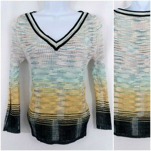 Missoni Knit Pullover Space Dye V-Neck Sweater